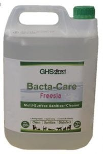 Bacta-Care products are used to disinfect the kennels and cattery and equipment. It is also available for purchase in our shop